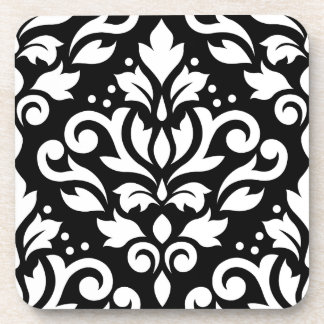 Scroll Damask Large Design White on Black Drink Coasters