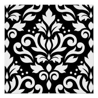 Scroll Damask Large Design White on Black Poster