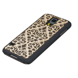 Scroll Damask Large Pattern Black Carved Maple Galaxy S5 Case