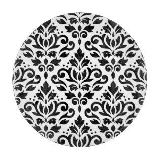 Scroll Damask Large Pattern Black on White Cutting Board