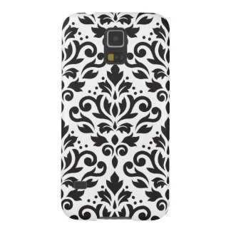 Scroll Damask Large Pattern Black on White Galaxy S5 Covers