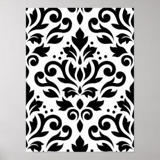 Scroll Damask Large Pattern Black on White Print