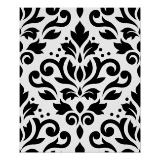 Scroll Damask Large Pattern Black on White Poster