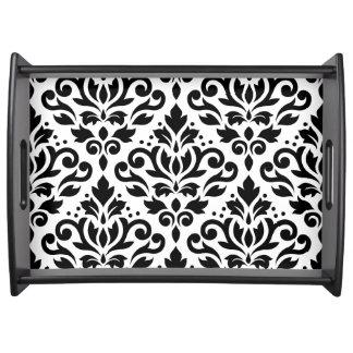 Scroll Damask Large Pattern Black on White Serving Tray