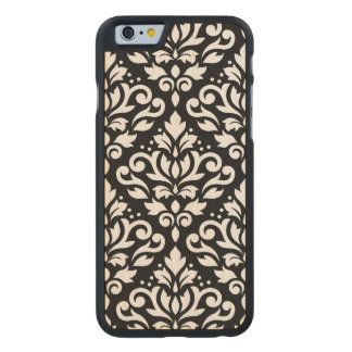 Scroll Damask Large Pattern Black Surround Carved Maple iPhone 6 Case