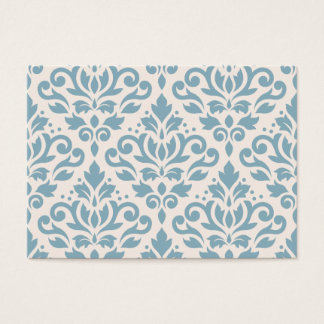 Scroll Damask Large Pattern Blue on Cream Business Card