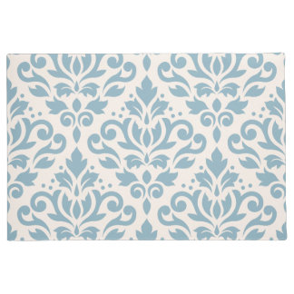 Scroll Damask Large Pattern Blue on Cream Doormat