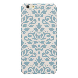 Scroll Damask Large Pattern Blue on Cream iPhone 6 Plus Case