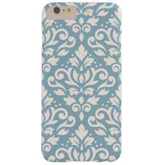 Scroll Damask Large Pattern Cream on Blue Barely There iPhone 6 Plus Case