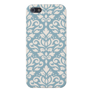 Scroll Damask Large Pattern Cream on Blue Case For The iPhone 5