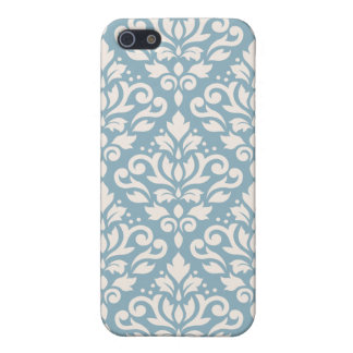 Scroll Damask Large Pattern Cream on Blue iPhone 5/5S Case