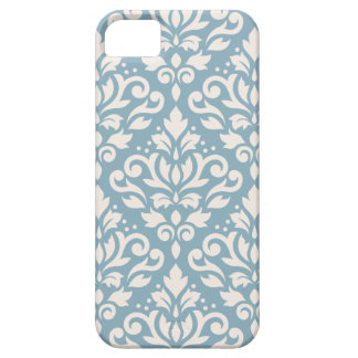 Scroll Damask Large Pattern Cream on Blue iPhone 5 Cover