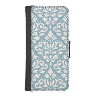 Scroll Damask Large Pattern Cream on Blue iPhone SE/5/5s Wallet Case