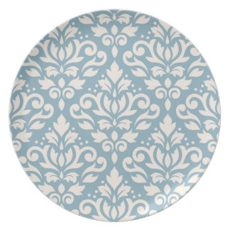 Scroll Damask Large Pattern Cream on Blue Plate