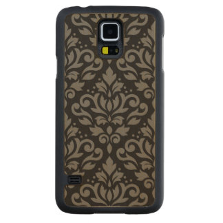 Scroll Damask Large Pattern Grey on Black Carved Maple Galaxy S5 Case