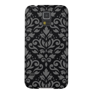 Scroll Damask Large Pattern Grey on Black Galaxy S5 Covers