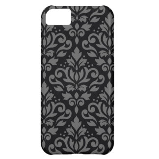 Scroll Damask Large Pattern Grey on Black iPhone 5C Case