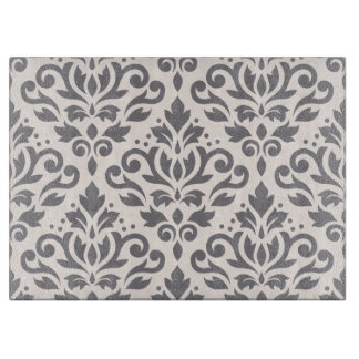 Scroll Damask Large Pattern Grey on Cream Cutting Board