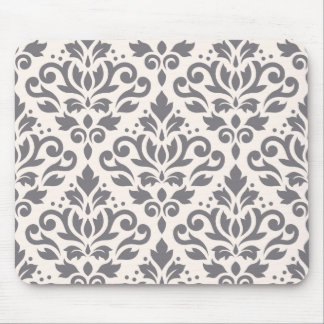 Scroll Damask Large Pattern Grey on Cream Mouse Pad