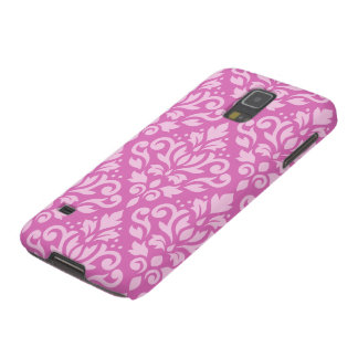 Scroll Damask Large Pattern Light on Dark Pink Cases For Galaxy S5
