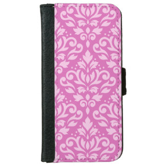 Scroll Damask Large Pattern Light on Dark Pink iPhone 6 Wallet Case