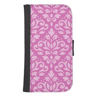 Scroll Damask Large Pattern Light on Dark Pink Samsung S4 Wallet Case