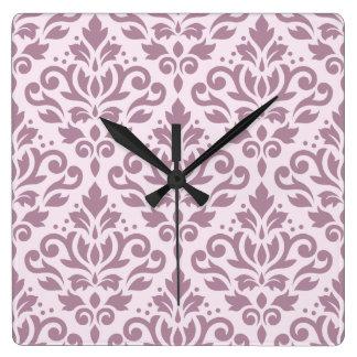 Scroll Damask Large Pattern Mauve on Pink Clocks