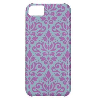 Scroll Damask Large Pattern Plum on Blue iPhone 5C Case