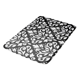 Scroll Damask Large Pattern White on Black Bath Mat