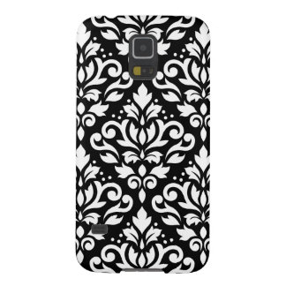 Scroll Damask Large Pattern White on Black Galaxy S5 Covers