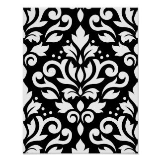 Scroll Damask Large Pattern White on Black Poster