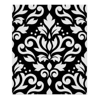 Scroll Damask Large Pattern White on Black Posters