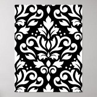 Scroll Damask Large Pattern White on Black Posters