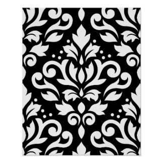 Scroll Damask Large Pattern White on Black Poster