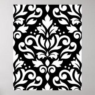 Scroll Damask Large Pattern White on Black Print