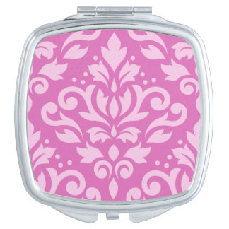 Scroll Damask Large Ptn Light on Dk Pink Mirror For Makeup