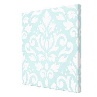 Scroll Damask Lg Design White on Duck Egg Blue Canvas Print