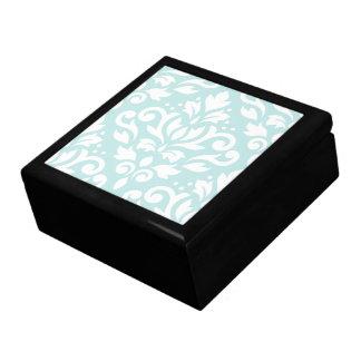 Scroll Damask Lg Design White on Duck Egg Blue Large Square Gift Box