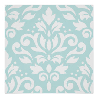 Scroll Damask Lg Design White on Duck Egg Blue Poster