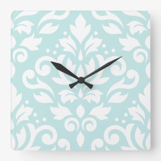Scroll Damask Lg Design White on Duck Egg Blue Square Wall Clock