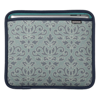 Scroll Damask Lg Pattern (outline) Cream Blue Teal iPad Sleeve