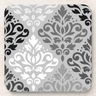 Scroll Damask Lg Ptn Art BW & Grays Coaster