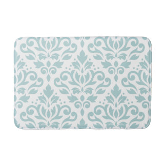 Scroll Damask Lg Ptn Duck Egg Blue (B) on White Bath Mat