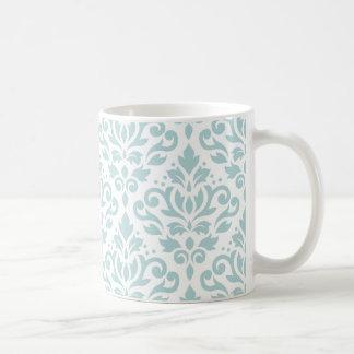 Scroll Damask Lg Ptn Duck Egg Blue (B) on White Coffee Mug