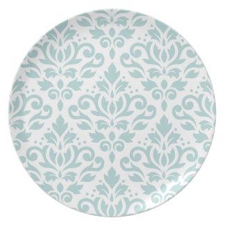 Scroll Damask Lg Ptn Duck Egg Blue (B) on White Dinner Plate