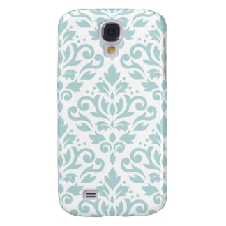 Scroll Damask Lg Ptn Duck Egg Blue (B) on White Galaxy S4 Case