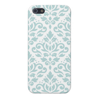 Scroll Damask Lg Ptn Duck Egg Blue (B) on White iPhone 5 Covers