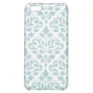 Scroll Damask Lg Ptn Duck Egg Blue (B) on White iPhone 5C Case