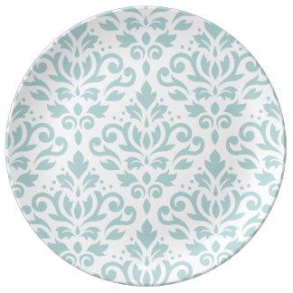 Scroll Damask Lg Ptn Duck Egg Blue (B) on White Plate