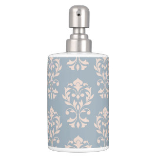 Scroll Damask Lg Ptn Pink on Blue Soap Dispenser And Toothbrush Holder
